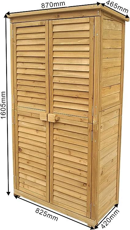 WilTec Caseta de jardín 870x465x1600mm con Puerta laminada, Madera de pícea con tejado de betún, cobertizo: Amazon.es: Bricolaje y herramientas