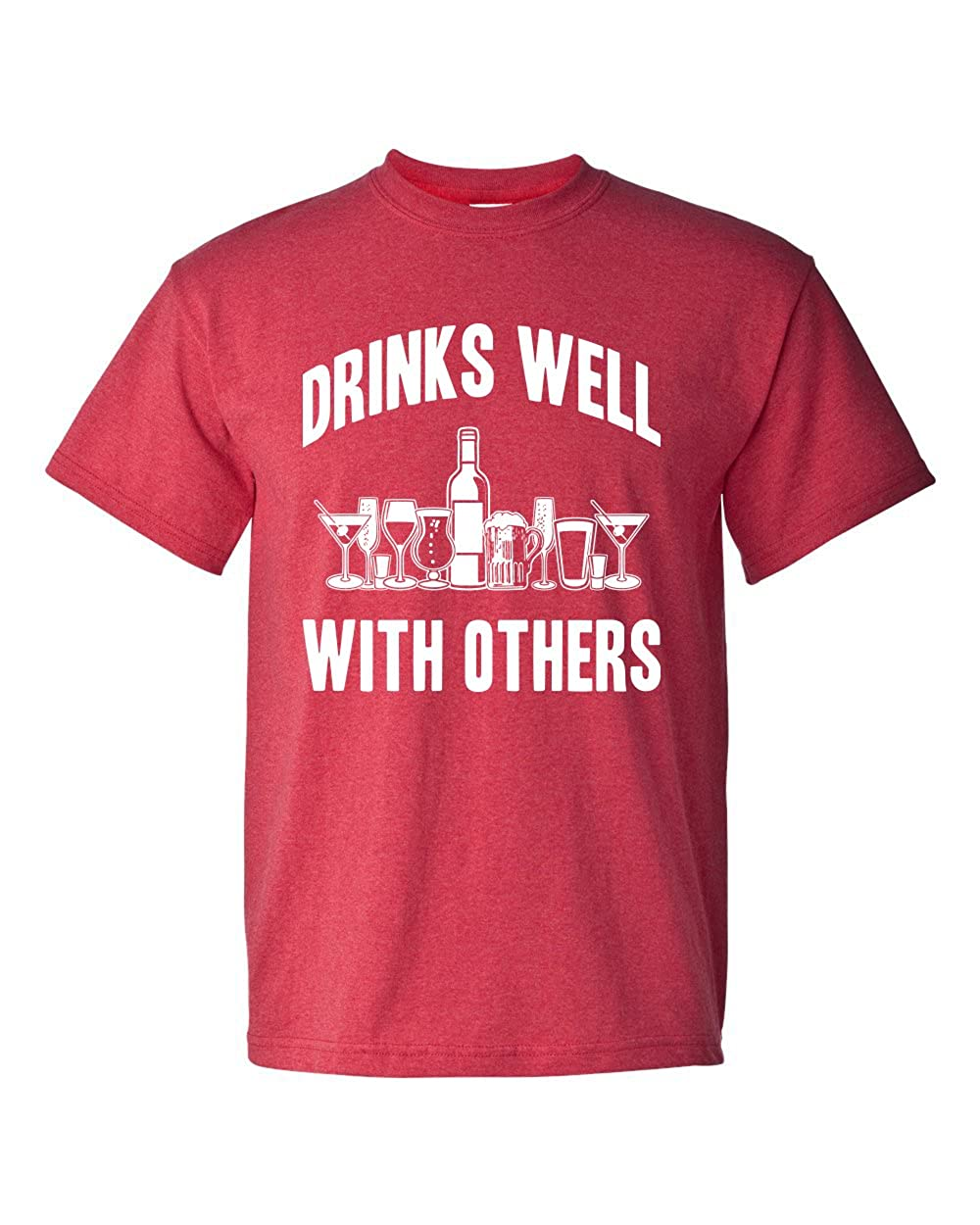 0d22d2427b4 Drinks Well with Others Sarcastic Party Funny Drinking Game Adult Men s T- Shirt