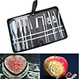 Agile-Shop Culinary Carving Tool Set Fruit Vegetable Food Garnishing / Cutting / Slicing Garnish Tools Kit (20 pcs)