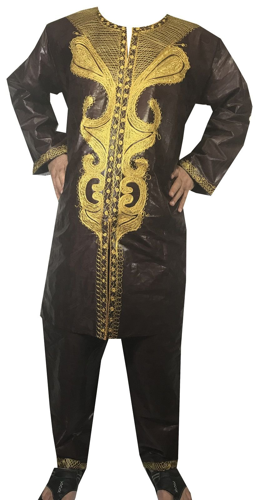 DecoraApparel African Men Pant Suit Brocade Embroidered 3PCs Suits Bright Colors by Decoraapparel