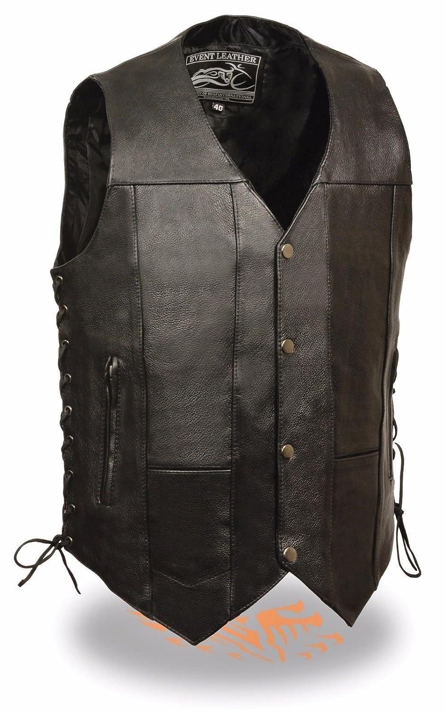 Da uomo gilet in pelle moto 10 tasche Bikers W/lacci laterali, tasca nascosta regular) Unbranded
