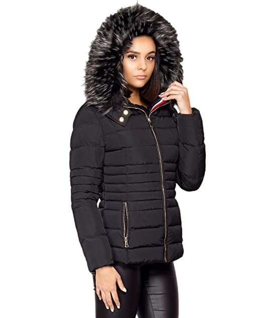Womens Ladies Padded Quilted Puffer Bubble Zip Fur Collar Coat Jacket Size