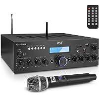 Wireless Microphone Power Amplifier System - 200W Dual Channel Sound Audio Stereo Karaoke Speaker Receiver w/USB, AUX…