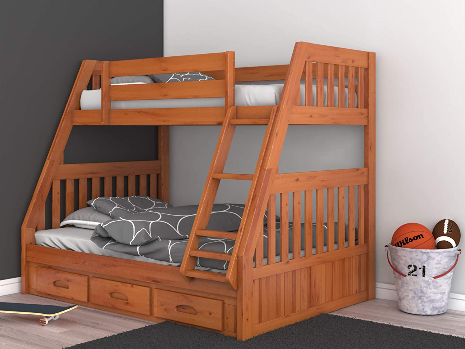 Discovery World Furniture with with 3 Drawer Storage Bunk Bed, Twin Over Full, Honey
