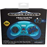 Retro-bit Official Sega Mega Drive 8-Button 2.4Ghz Wireless Arcade Pad For Mega Drive Mini Console, Sega Mega Drive Console, PC, Switch, macOS, Playstation 3, Steam (Clear Blue)
