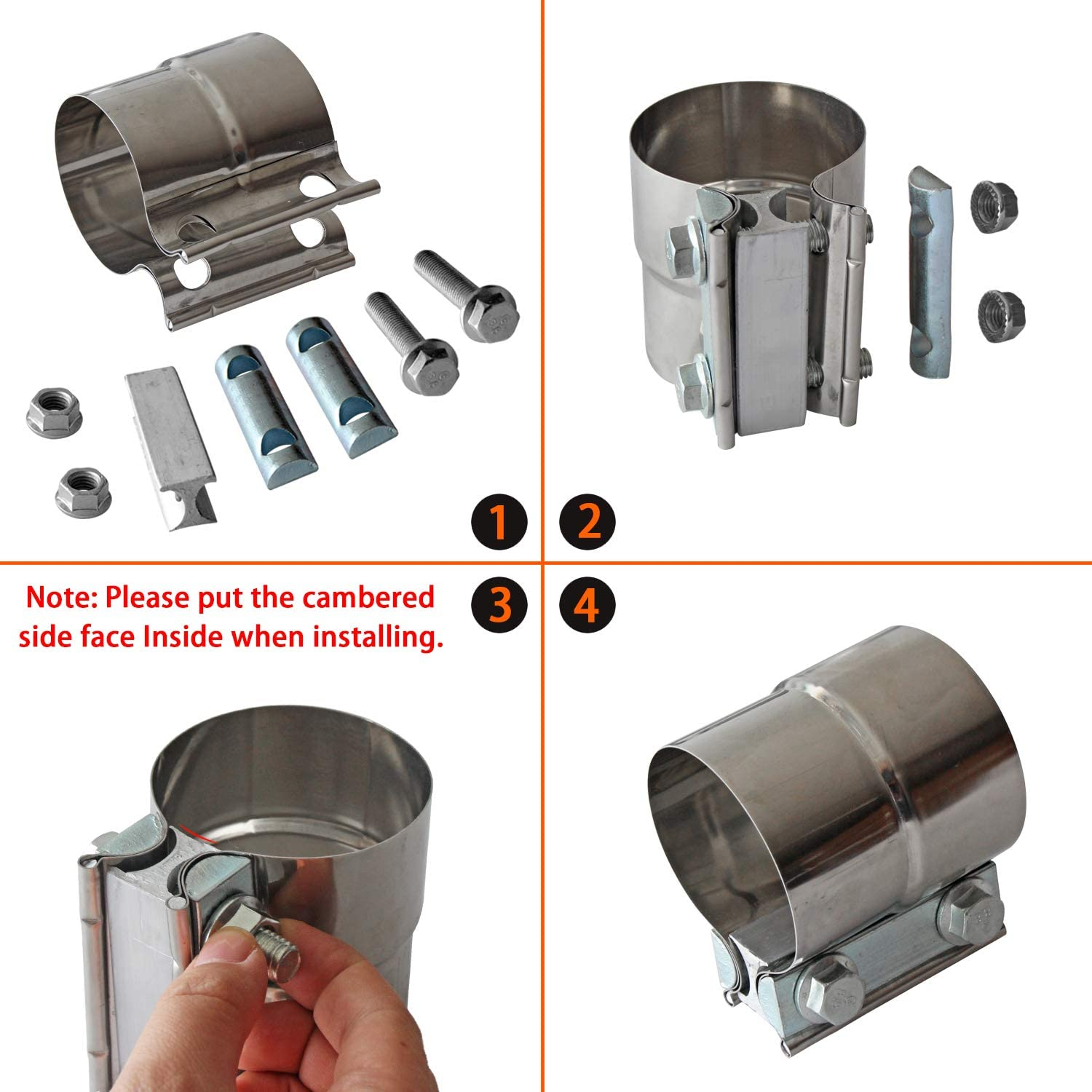 Stainless Steel Lap Joint Exhaust Band Clamp with 1 Block 2Pcs for 2.5 Od to 2.5 Id Exhaust Pipe 2 Pack Muffler Elbow and Exhaust Tubing Connection Exhaust Clamps Band Clamp 2.5 Lap Joint