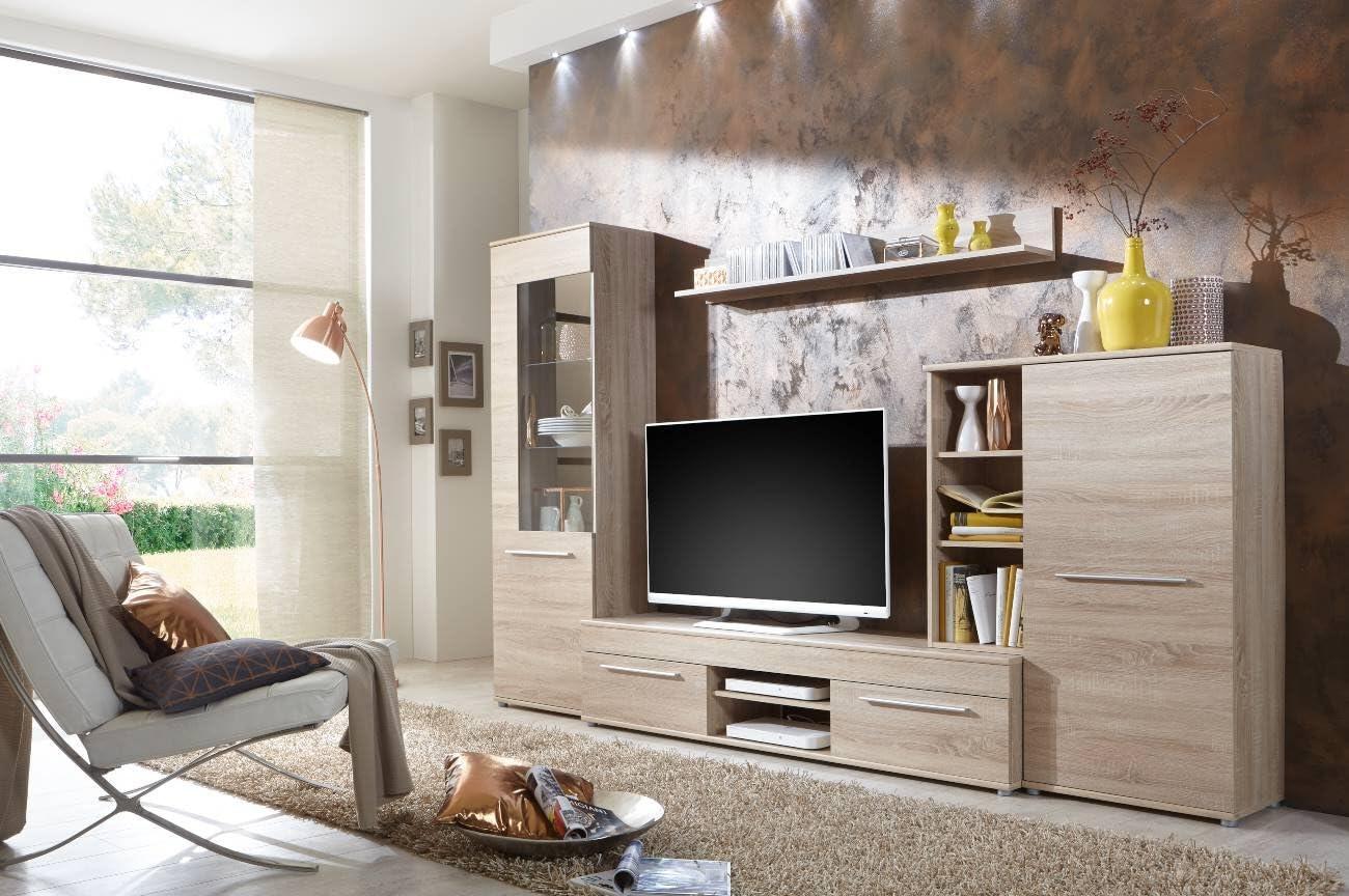 BMG Möbel Wohnwand Wohnzimmerschrank Fernseh Schrank Anbauwand TV-Element  Cannes in Eiche Sonoma - Made in Germany - (Wohnwand mit Beleuchtung)