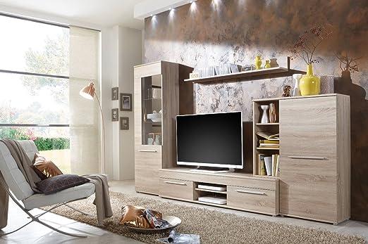 Wohnwand Wohnzimmerschrank Fernseh Schrank Anbauwand TV Element CANNES In Eiche Sonoma