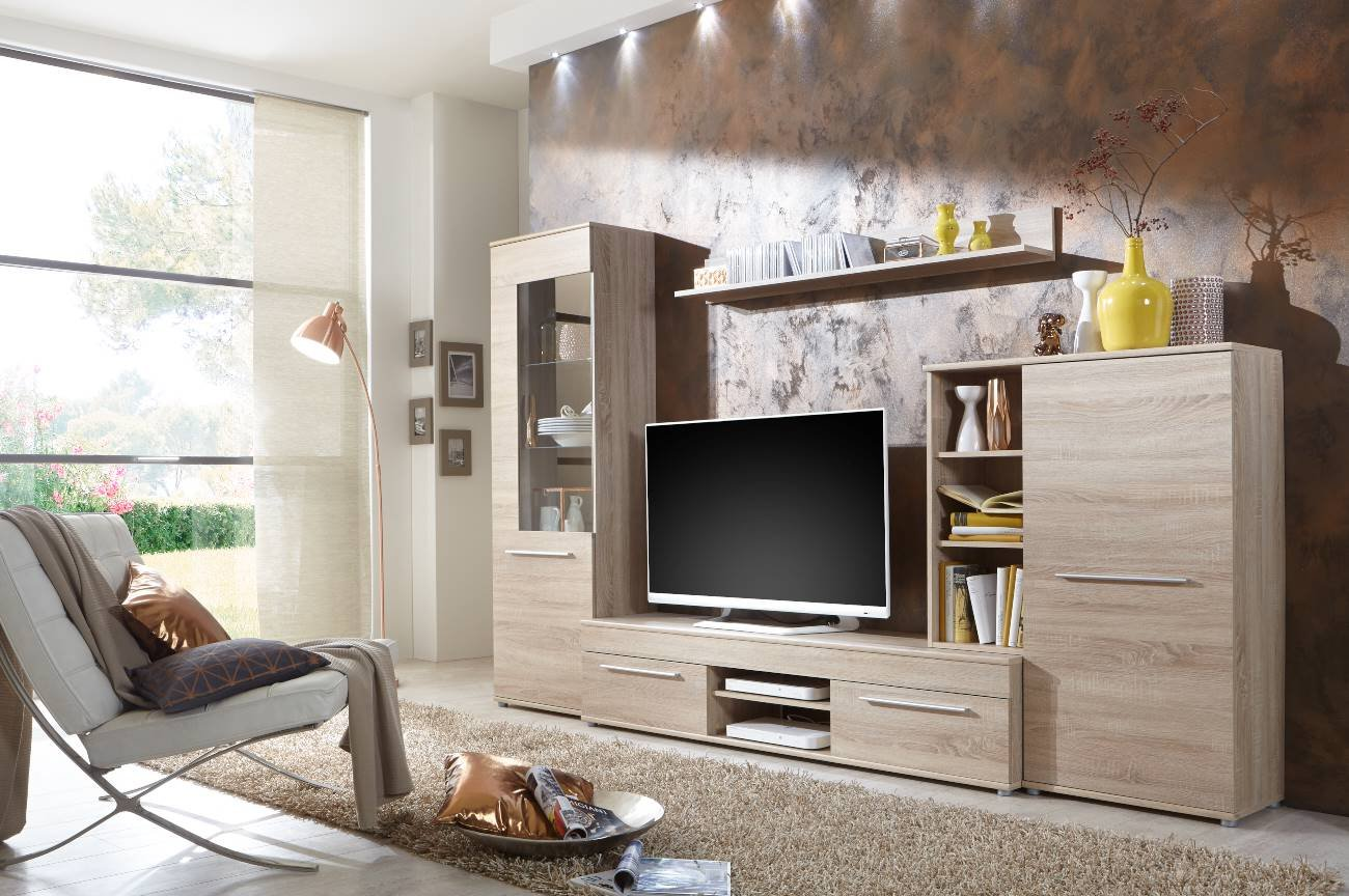 Wunderbar Wohnwand Wohnzimmerschrank Schrankwand TV Element Anbauwand CANNES In Eiche  Sonoma   288 Cm Breit / 181 Cm Hoch / 36 Cm Tief Made In Germany