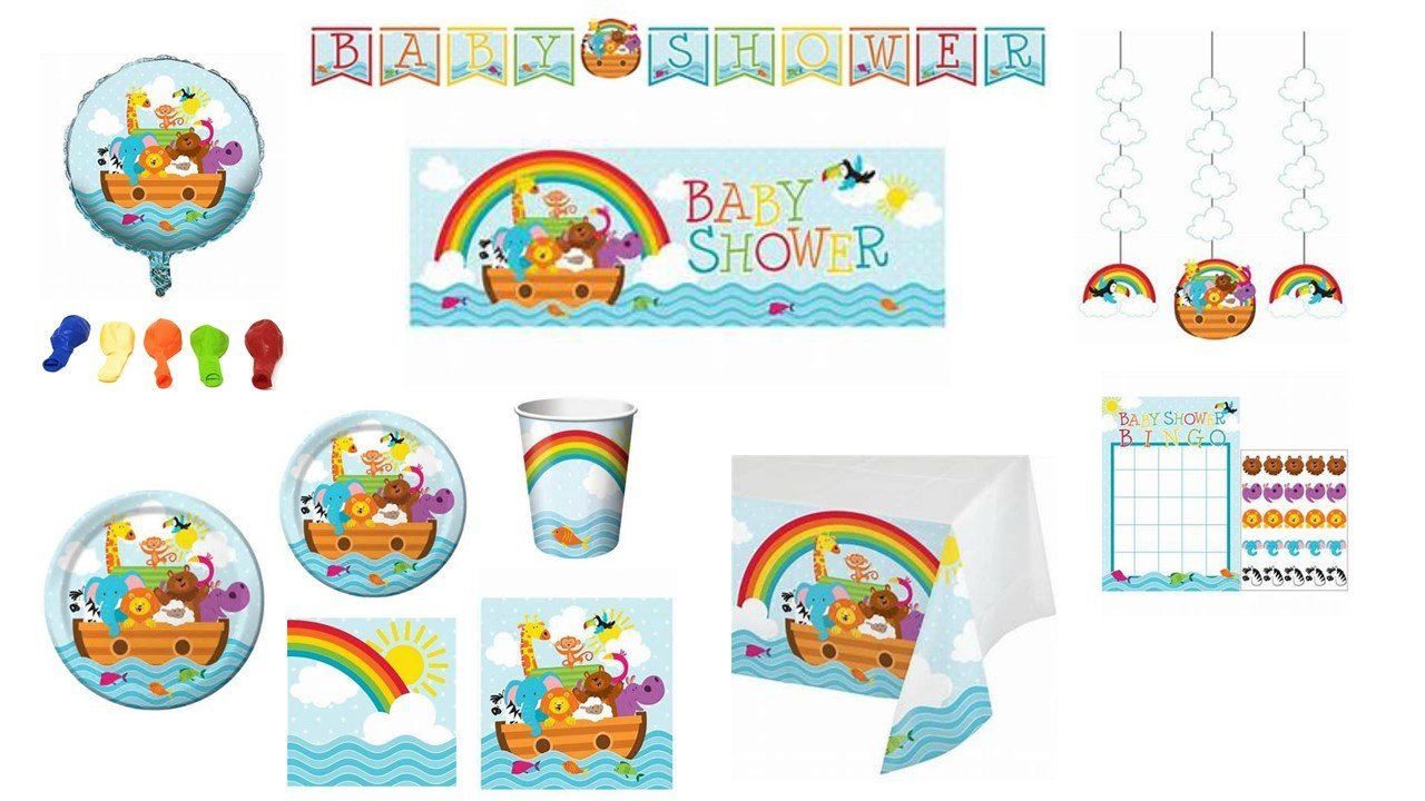 Baby Shower or Kids Happy Birthday Noahs Ark Dinnerware/Decorations Combo Pack 11-Piece Bundle, Serves 8 (Plates/Napkins/Cups/Tablecloth/Decorations) by ShoppeShare