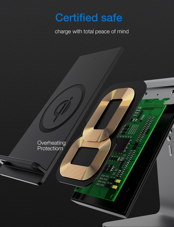 Bestand 2 en 1 Aluminio Airpods Estación de Carga & Base de Qi Cargador Rápido Inalámbrico para iPhone X/8/7 Plus, Gris(Airpods Charging Case Not Included): ...