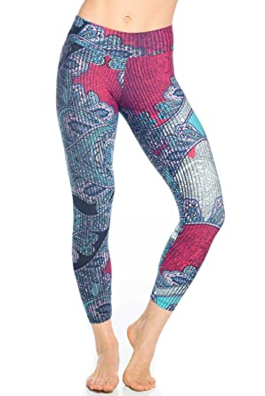 d890df2be246a Liquido Active Double Effect Patterned Yoga Legging Womens Active Workout  Yoga Leggings at Amazon Women's Clothing store:
