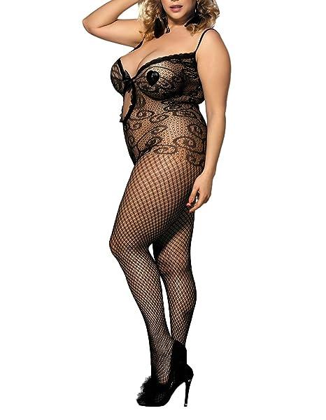 97bb2b008ab Amazon.com  Lookswe Women s Sexy Bodystocking V Neck One Piece Fishnet  Lingerie Bodysuit Clubwear  Clothing