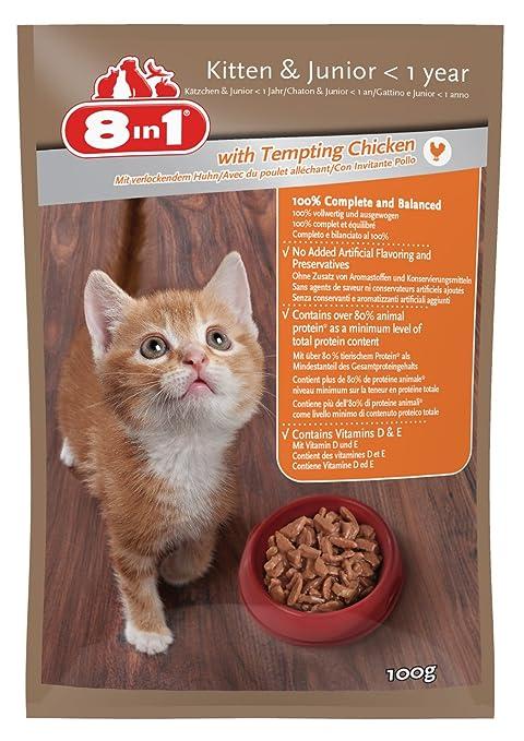 8 in1 Gato húmedo Forro Kitten & Junior Gallina (para niño Gato hasta 12 Meses