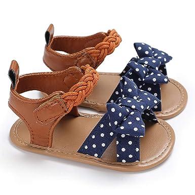 bf9b038e3 Puseky 0-18M Zapatos de Cuero para bebés y niñas Bebés Infantiles Sandalias  de Verano Bowknot a Rayas Cuero de PU Suave Suela de Goma Primeros ...