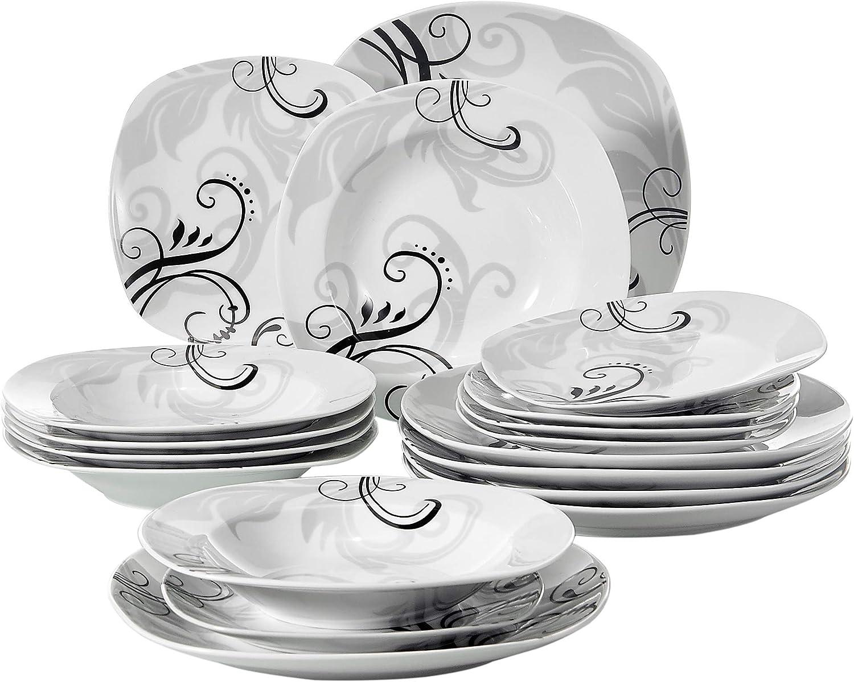 6pcs Assiette Creuse 21,5cm Veweet OLINA 18pcs Assiettes Pocelaine Service de Table 6pcs Assiettes Plates 24,7cm 6pcs Assiette /à Dessert 19cm Vaisselles pour 6 Personnes Design Fleuri