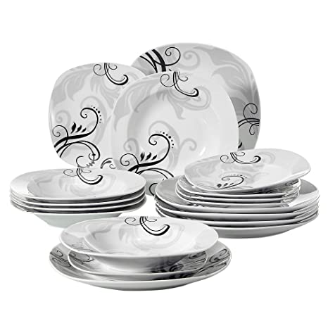 VEWEET 18 Piece Porcelain Square Dinnerware Set Decal Patterns Kitchen Plate Sets With Dinner Plate Soup Plate Dessert Plate Service For 6 Zoey