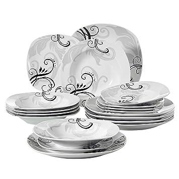 Veweet ZOEY 18pcs Assiettes Pocelaine Service de Table 6pcs Assiettes  Plates 24,7cm, 6pcs 0d6281ecbab8