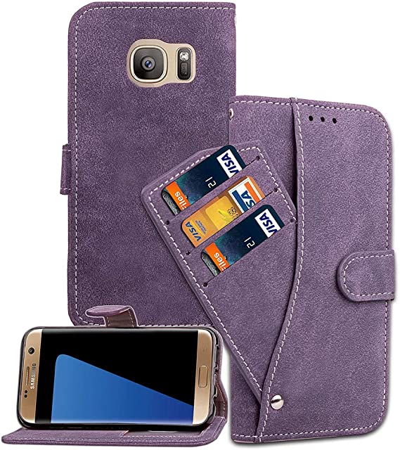 Asuwish Galaxy S7 Edge Wallet Case,Luxury Leather Phone Cases with Credit Card Holder Slot Stand Kickstand Flip Folio Protective Cover for Samsung Galaxy 7edge 7S S7edge GS7edge Women Girls Men Purple