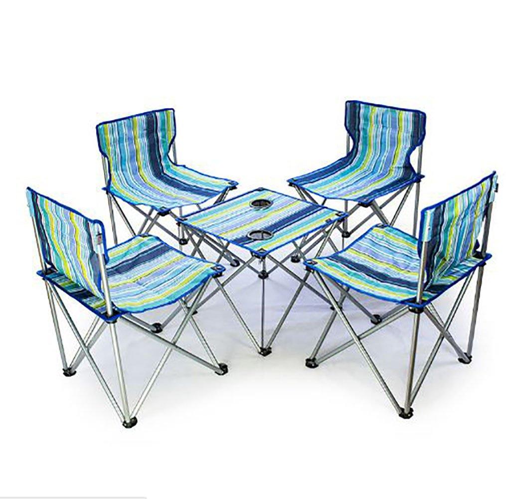 KOKR Outdoor Campingtisch Campingstuhl Set, (1 x Campingmöbel Klapptisch + 4 x Campingstühle)