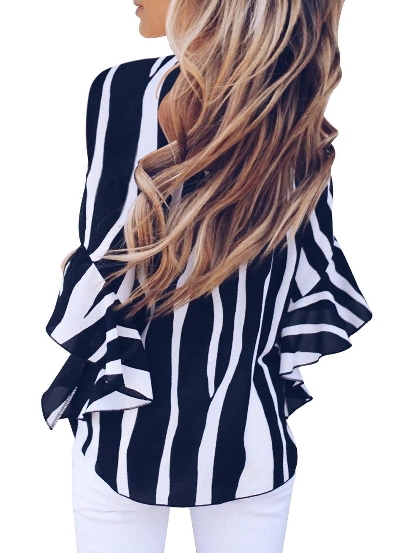 Aleumdr dam randigt tryck av axel 3 4 flare ärm slips knut blusar toppar vardagliga skjortor A-svart