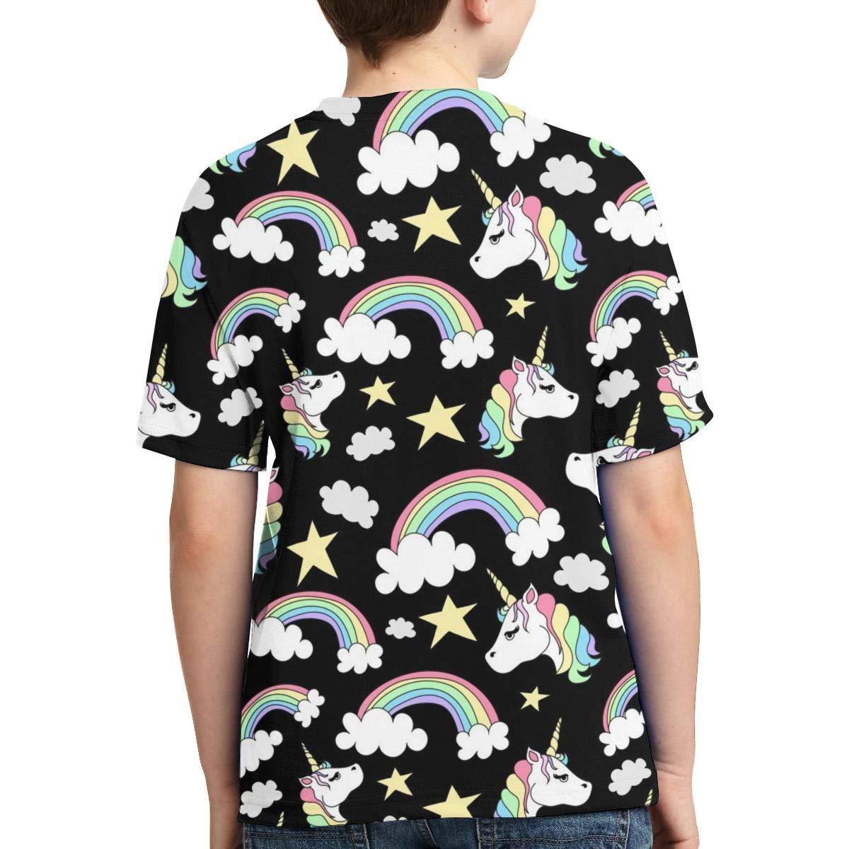 Pattern of Unicorns and Rainbows Kids Print Graphic Tee Short Sleeve T-Shirt
