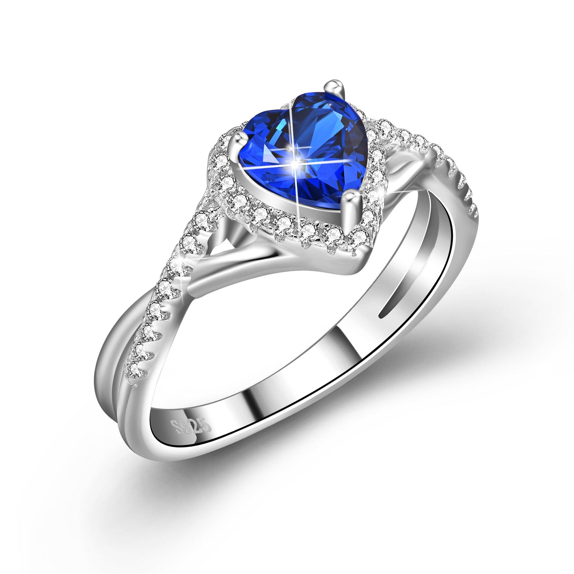 YFN Love Heart Ring Blue Cubic Zirconia Rings Sterling Silver Women Girls Jewelry Sizes 6.5 (6.5)