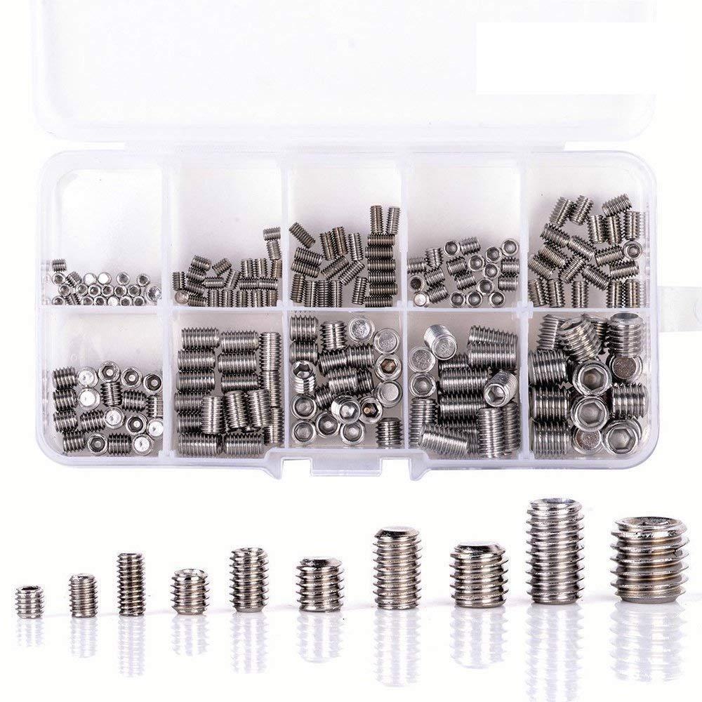 304/Edelstahl qisf 300/St/ück M3/M4/M5/M6/M8/Hex Allen Head Socket Set Schraube Sortiment Kit Gewinde Cup Point Grub Schrauben mit Aufbewahrungsbox