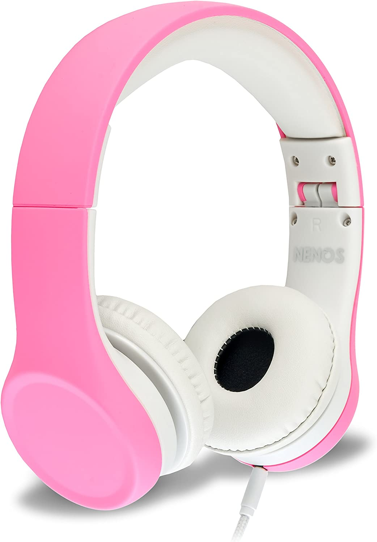 Children Kids Children's Volume Limited Headphones for Kids Foldable (Pink)
