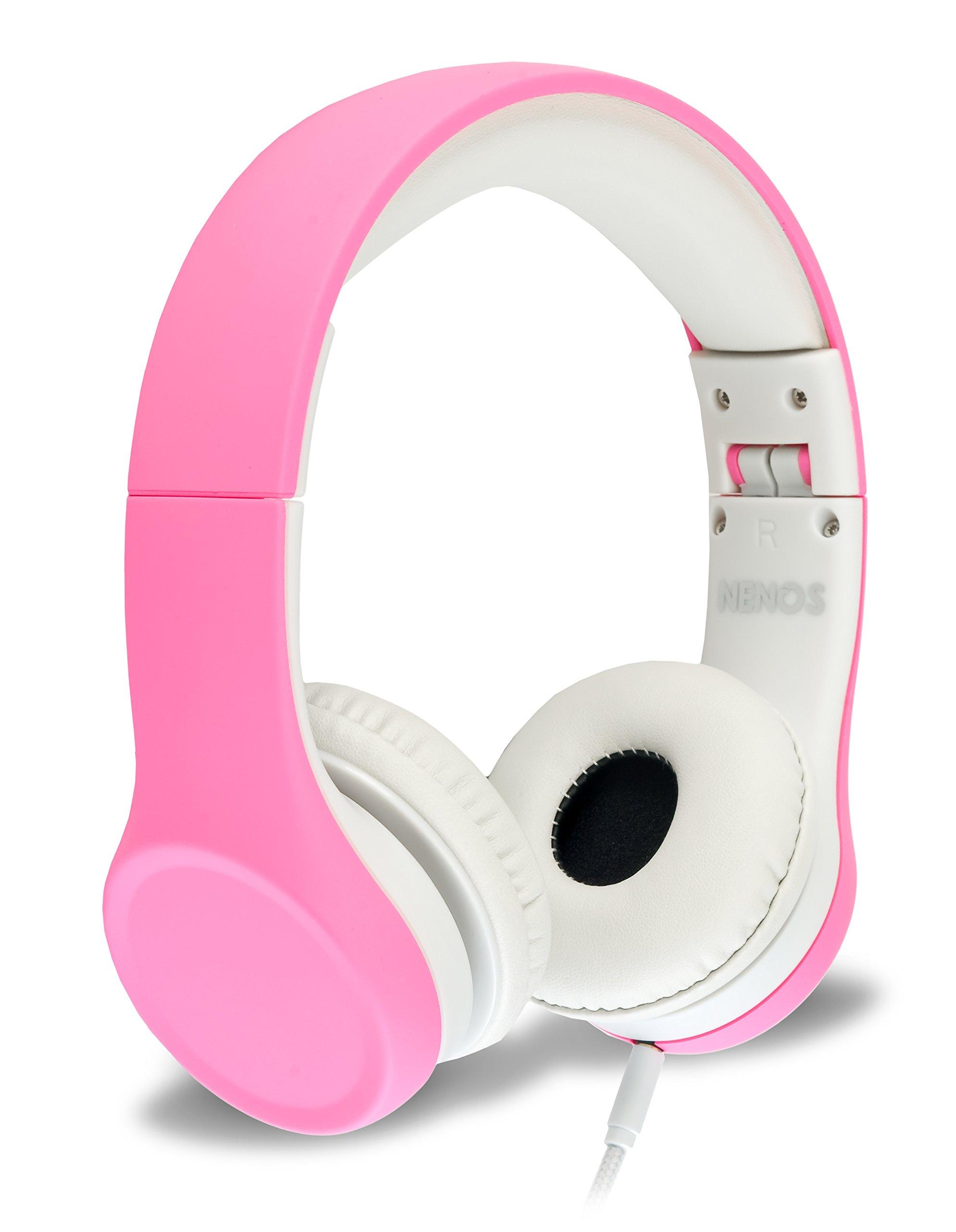 Nenos Children Headphones Kids Headphones Children's Headphones Volume Limited Headphones for Kids Foldable (Pink) by Nenos
