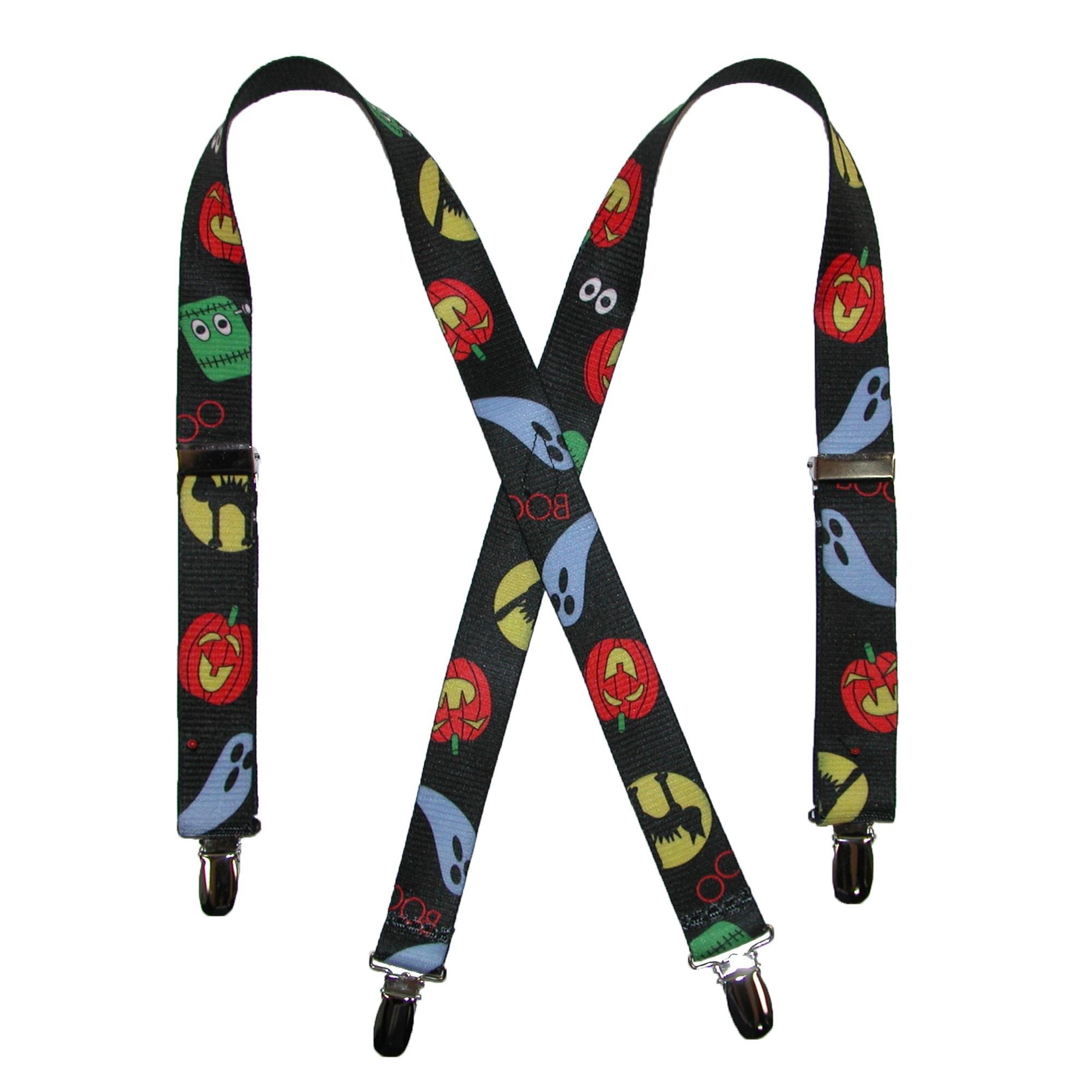 CTM Kids' Halloween Print Holiday Suspenders, Black