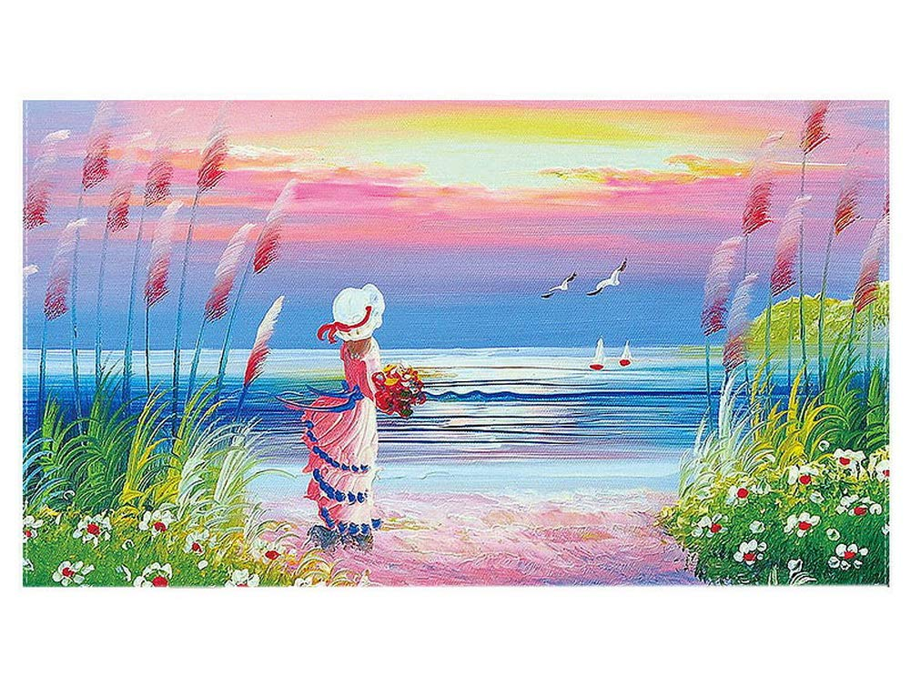 Gentle Meow Home Creative 50-Inch TV Cloth Decorative Dustproof Cover, Girl by The Sea