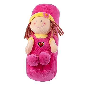 Bonito lápiz caso, pluma bolsa, multicolor de peluche y multiusos bolsa, color rosa