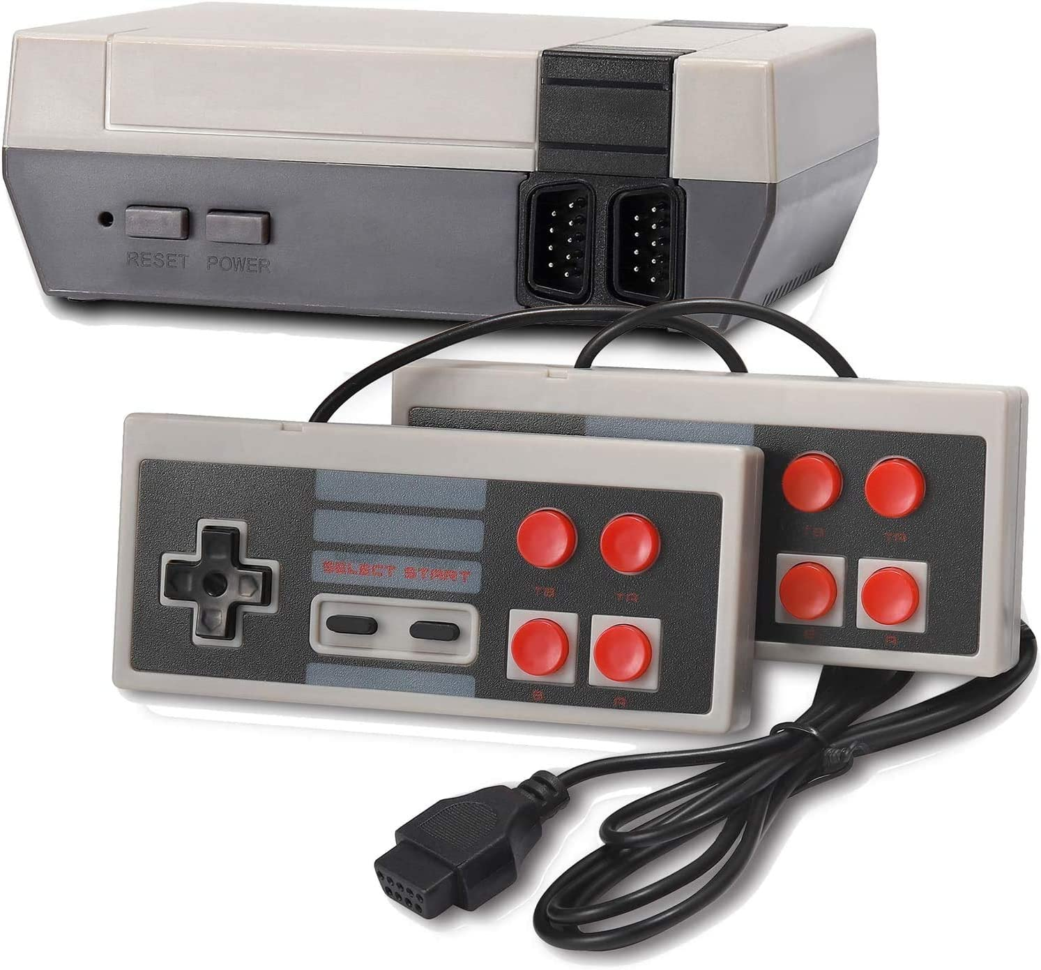 Burcica Retro Game Console, Classic Mini Video Games Consoles with 620 Games Built in 2 Controllers for NES Style AV Output (Grey)