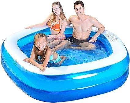 Saica Piscina Cuadrada Hinchable para niños y Adultos, Color Azul ...