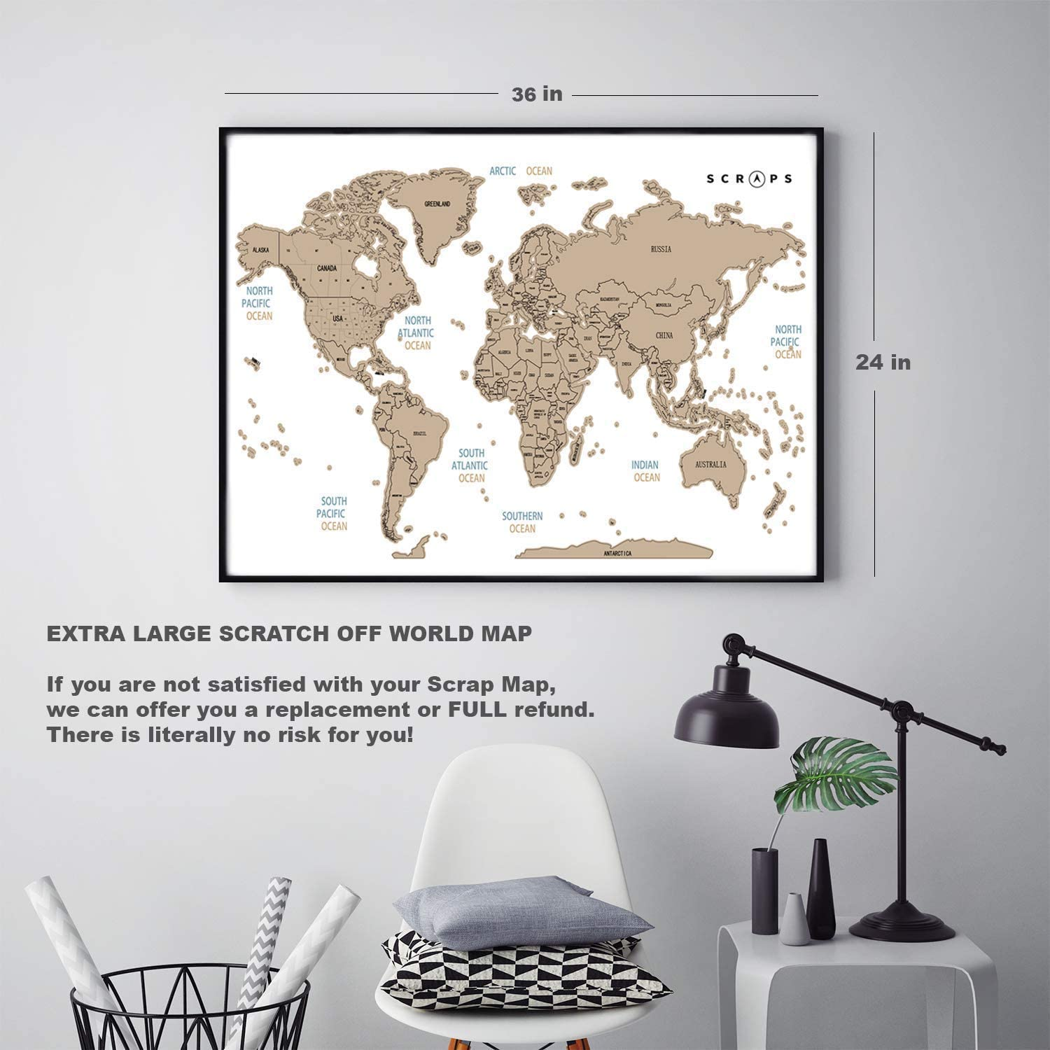 high quaity Extra Large Scratch Off World Map Wall Poster of U.S ...
