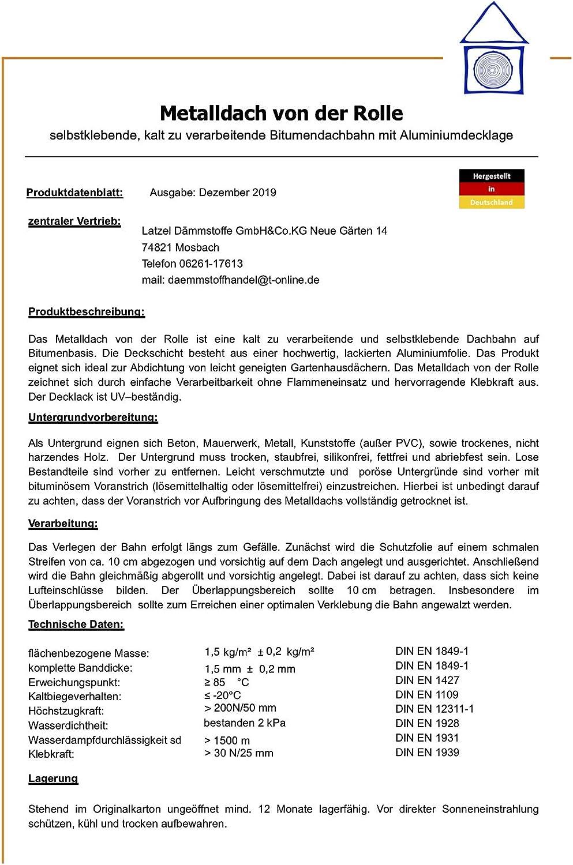 Fabriqu/é en Allemagne. Toit m/étallique autocollant de format 1 x 10 m de couleur noire Joint de toit /élastom/ère avec rev/êtement en aluminium color/é de 10 m2