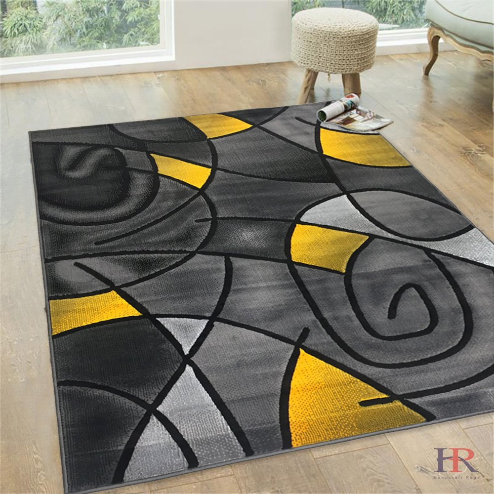 Amazon com handcraft rugs abstract area rug circles and wave design pattern modern contemporary 8x10 yellow kitchen dining
