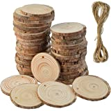 "50 Pcs Natural Wood Slices Unfinished Predrilled Round Discs Hole Wooden Circles with 40 Feet Natural Jute Twine 2.4""-2…"