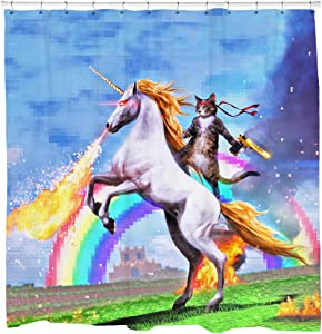 Sharp Shirter Cool Cat Shower Curtain Set Man Cave Bathroom Decor Awesome Unicorn Shooting Fire Blue Polyester Fabric 71x74 Hooks Included