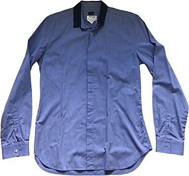 Paul Smith PS Single Puño Manga Larga Azul Contraste Camisa Cuello: Amazon.es: Ropa y accesorios