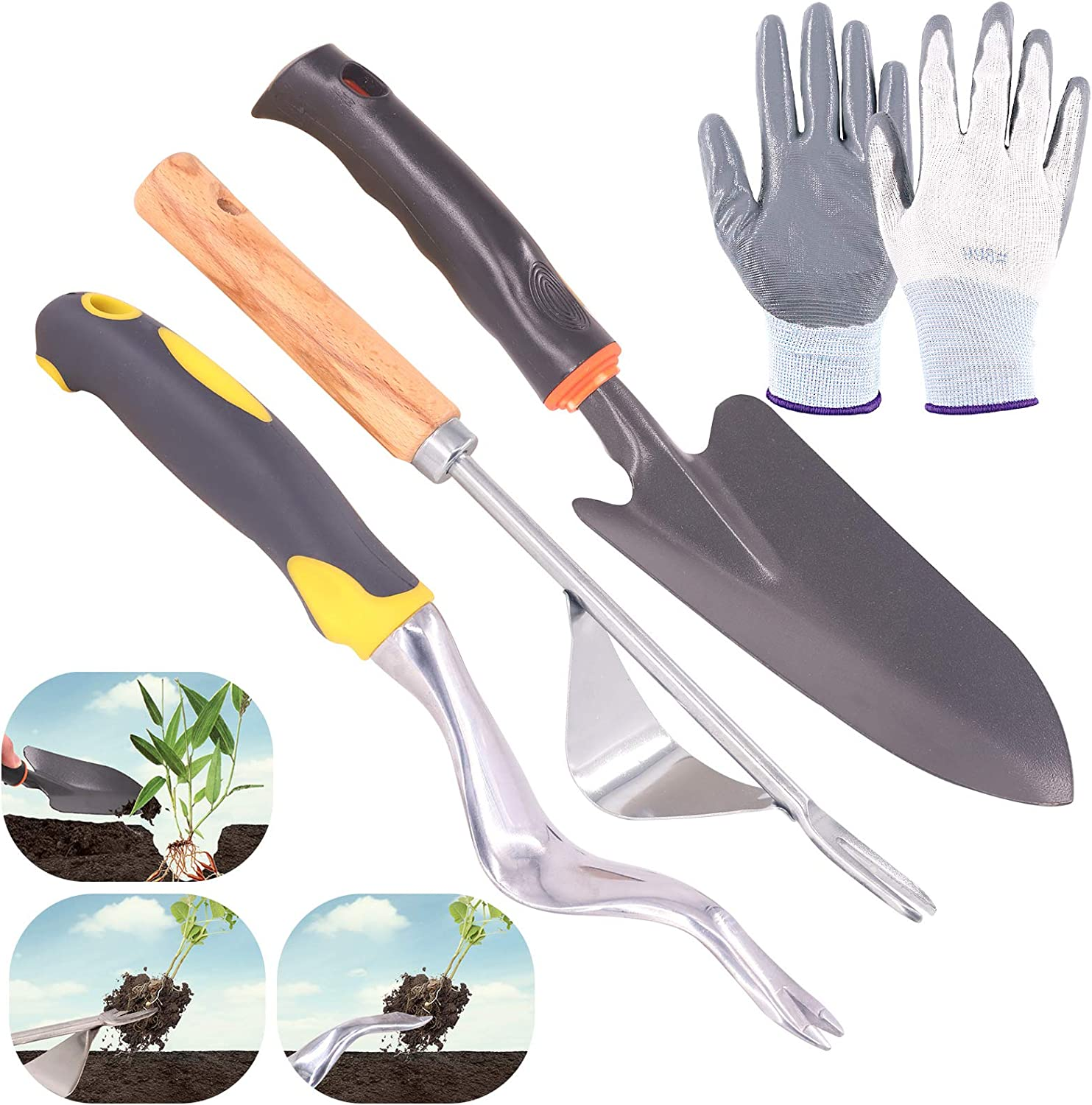 Glarks 5Pcs Hand Weeder Tool Set, 2Pcs Manual Weeder Weed Puller with Hand Trowel and a Pair Anti-Cutting Gloves for Garden Lawn Yard Weed Removel