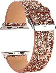 Moonooda Compatible with Apple Watch Band 38mm 40mm 42mm 44mm, Women Wristband Replacement for iWatch Band, Bling Glitter Strap Compatible with Series SE 6 5 4 3 2 1, Rose Gold