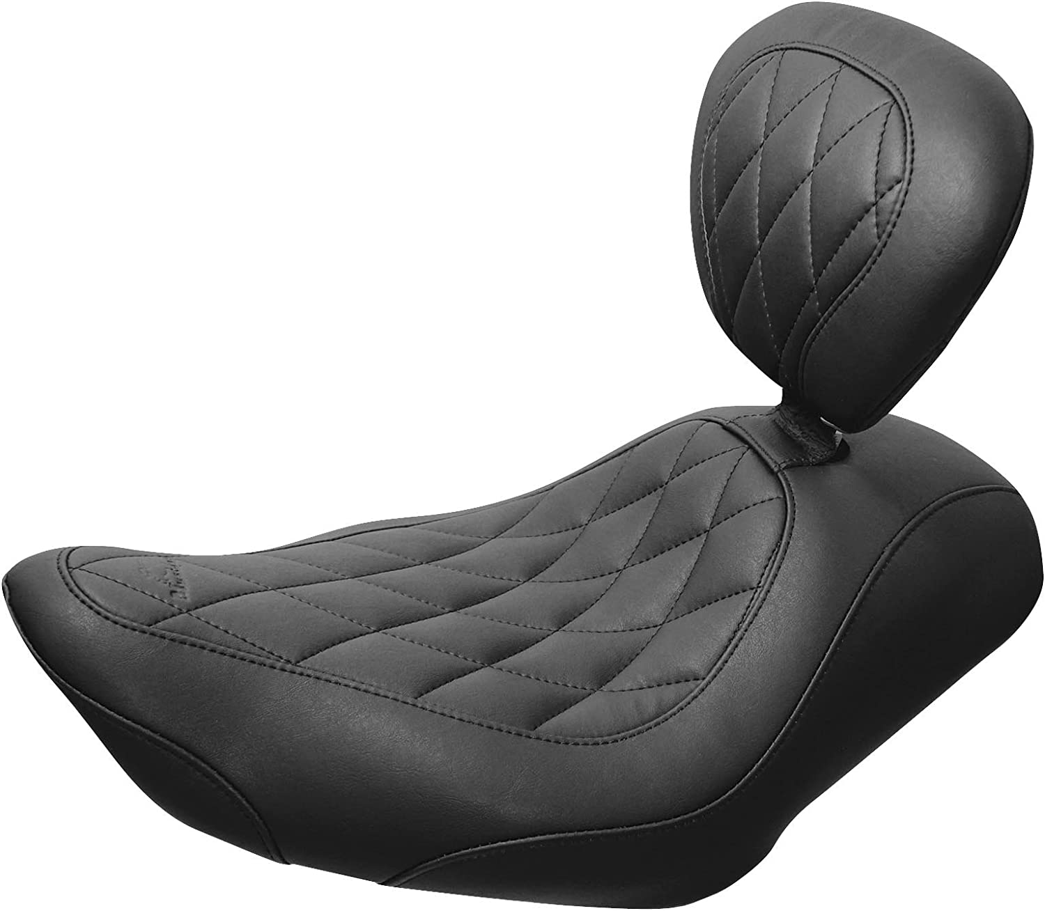 Mustang Motorcycle Seats Black Wide Tripper Solo Seat with Diamond Stitching and Backrest