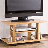 【どこにでも使いやすい設計サイズ】軽くて省スペーステレビボード(キャスター付き) 幅80cm 掃除しやすい移動式 オープン設計AV収納 32型対応 テーブルや棚にも使える (ナチュラル色)