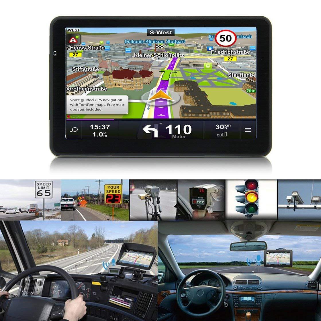 Laurelmartina 710 Navegación GPS de 7 Pulgadas para Camiones de automóviles Navegación capacitiva de 256M + 8GB Navegador FM Cámara de inversión Reversible ...