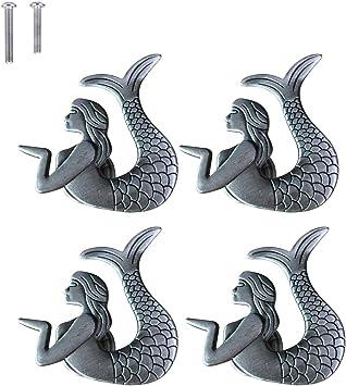 Ceramic Mermaid Handle Kitchen Cabinet Drawer Dresser Pulls Furniture Hardware