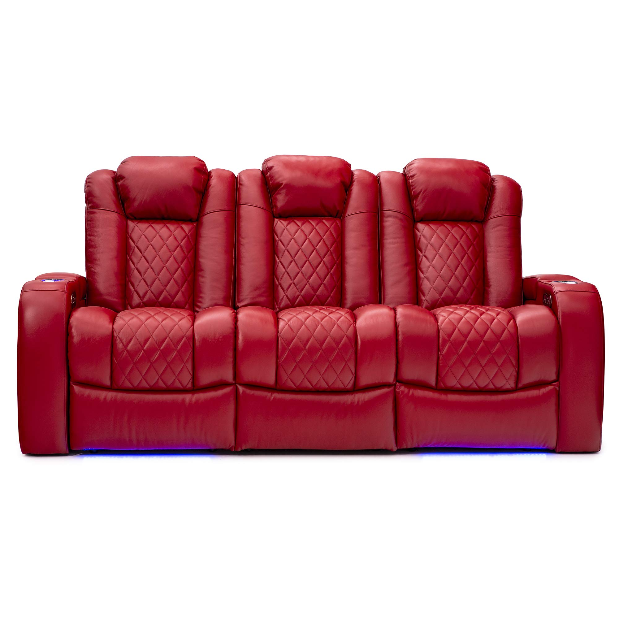 Seatcraft Anthem Home Theater Seating Leather Multimedia Power Recline Sofa with Drop-Down Table, Powered Headrests, Storage, and Cupholders (Red) by Seatcraft