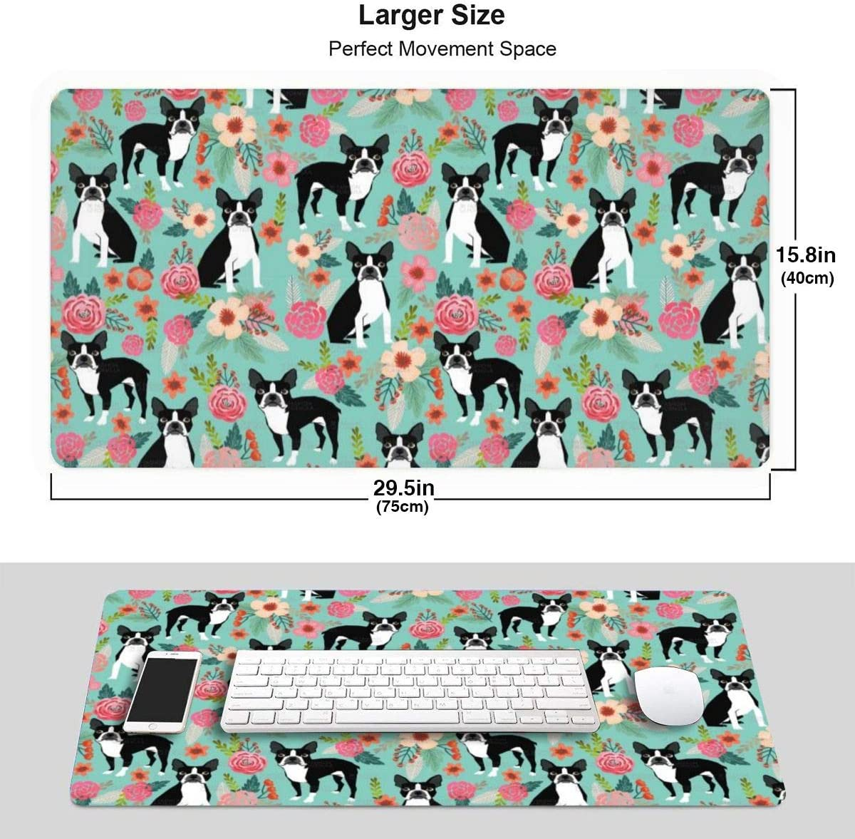 Waterproof Desk Pad Keyboard Mat with Non-Slip Base for Work /& Gaming 29.5x15.7In Office /& Home Extended Gaming Mouse Pad-Corgi with Florals Flowers Large XXL Professional Mousepad