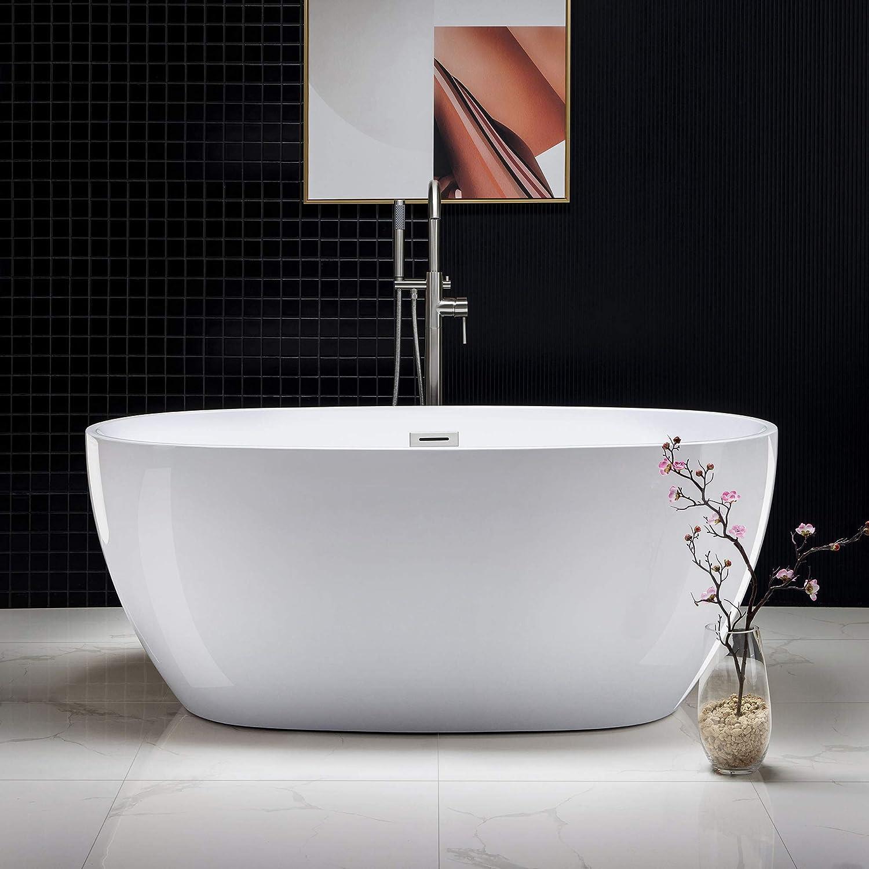 "WOODBRIDGE Acrylic Freestanding Bathtub Contemporary Soaking Tub with Brushed Nickel Overflow and Drain, BTA1518, 59"" B-0018 OVAL"